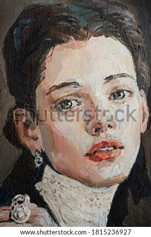 Art painting. Portrait of a girl with red lips is made in a classic style. Background is grey.