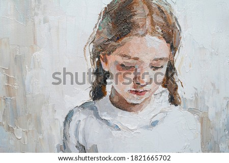 Art painting. Portrait of a  little girl with braids is made in a modern style.
