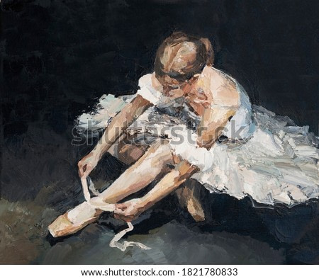 Young beautiful ballerina in lush white and light white dress sits on the floor before the performance, the background is black. Oil painting on canvas.