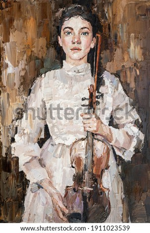 girl in a white dress holding a violin in her hands. Palette knife technique of oil painting and brush.