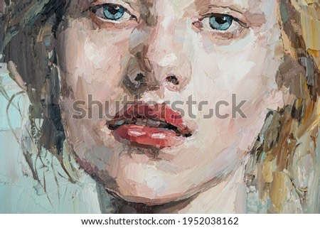 Fragment of art painting. Portrait of a girl with blond hair is made in a classic style. A woman's face with red lips.