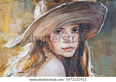 A woman in a straw hat sits in the sunset. Girl in nature. Oil painting on canvas.