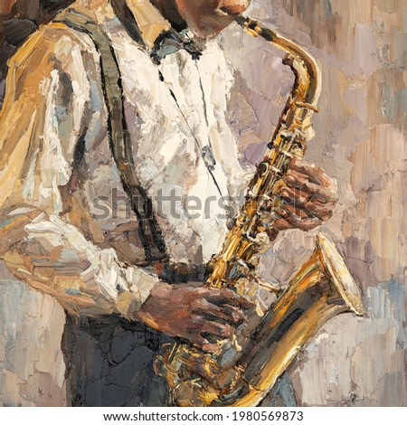 Stylish jazz band playing music on the scene, background is brown. Palette knife technique of oil painting and brush.  The jazzman plays the saxophone.
