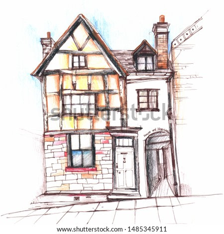 Hand drawn picture English house.Picture painting watercolor pencil Old English houses in vintage Victorian style. Art image print on fabrics and textile,banners and poster for home interior print