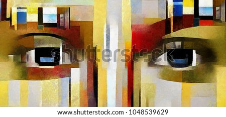 A feminine look. Primitive cubism. The minimalist story in vivid colours. Modern pop art. Made in oil on canvas in the style of Piet Mondrian.