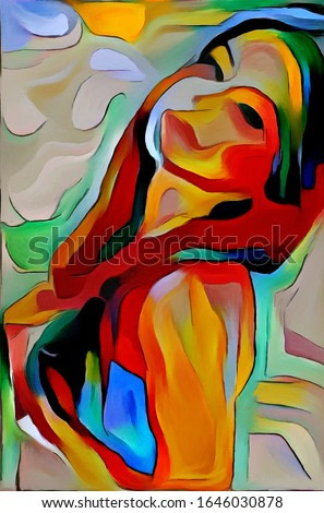 Portrait of a fictional girl in the style of modern abstraction. The painting is made in oil on canvas, an imitation of classical fine art.
