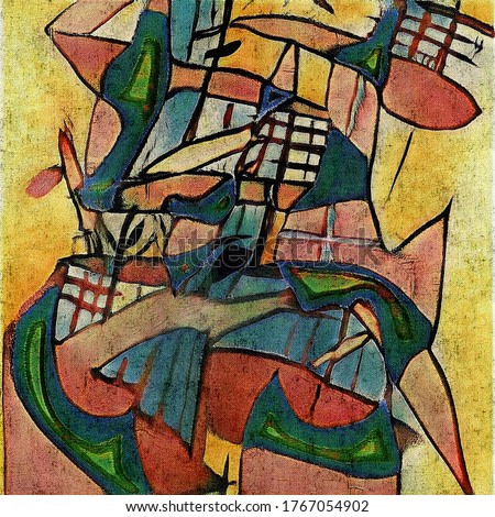 Modern abstraction in the style of cubism based on the works of Picasso. The painting is made in oil on canvas with cracks.