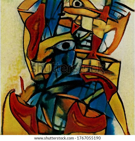 Surreal portrait. Modern abstraction in the style of cubism based on the works of Picasso. The painting is done in watercolor on rough paper.