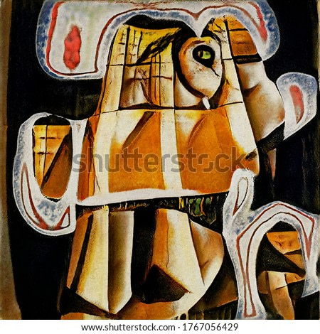 Portrait of a horse. Modern abstraction in the style of cubism based on the works of Picasso. The painting is done in watercolor on rough paper.