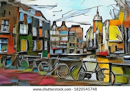 European urban landscape from the triptych series. The painting is made with watercolor painting and chemical liquid using aquaprint technology. The style of cubism. Based on works by Picasso.