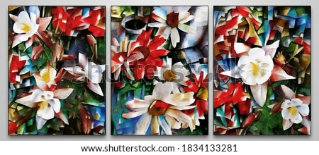 Triptych of modern painting. Floral abstraction of petals and geometric shapes. The painting is made in oil on canvas in the style of abstraction.