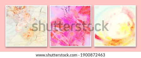 Triptych. Surreal peonies. Modern abstraction in the style of impressionism. The painting is made in watercolor on wet paper.