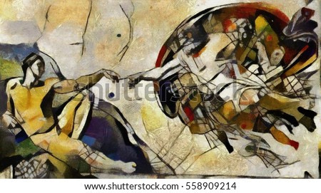 Alternative reproduction of the Creation of Adam fresco by Michelangelo in the style of Picasso.The author's work in oil on canvas and pastel. Good solution for interior or paper poster.