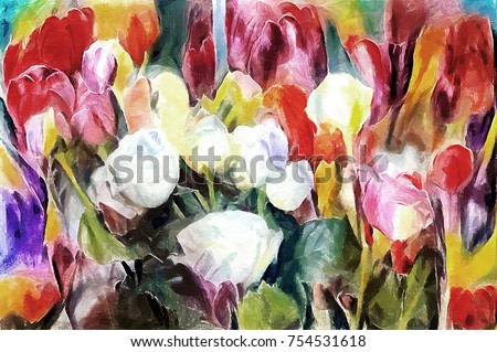 Roses and tulips in a festive bouquet. Designed in a modern technique of oil painting and watercolor. Abstraction on canvas with acrylic paint.