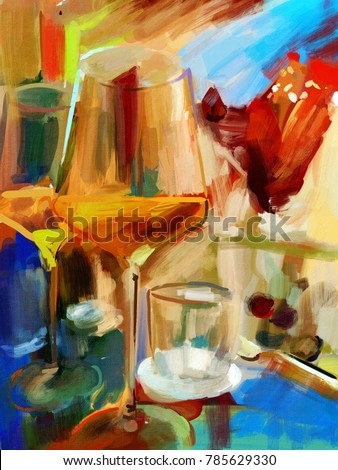 Still life with glasses of wine. Made in abstract style in oil on canvas.