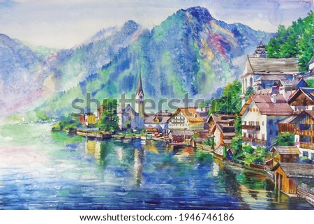 watercolor countryside Austrian landscape background. village watercolor painting.