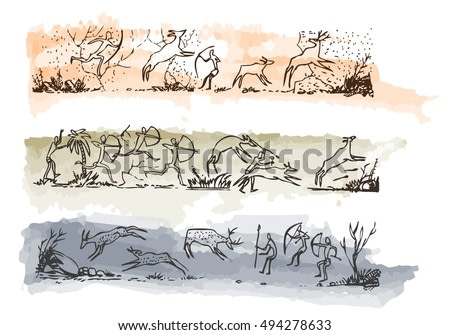Rock art of ancient people. Primitive painting of the stone age. Vector illustration
