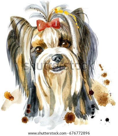 Cute Dog. Dog T-shirt graphics. watercolor yorkshire terrier  illustration