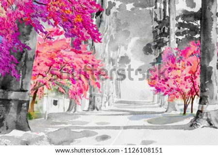 Watercolor landscape painting black and white of Tunnel trees with pink cherry blossom, street view emotion in rural society, nature beauty background. Hand painted semi abstract illustration in Asia.
