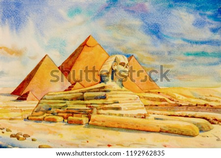 Hand drawn watercolor painting landscape on paper.  The Great pyramid with desert in Giza and the Sphinx in Egypt.  Illustration art, sky and cloud background, travel landmark of the world.