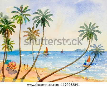 Painting watercolor seascape colorful of lovers, family vacation and tourism in summery, multi colored umbrella, coconut tree sea wave blue background. Painted Impressionist image illustration.