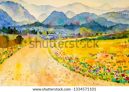 Watercolor landscape painting colorful of mountain and meadow in the Panorama view and emotion rural society, nature beauty skyline background. Hand painted semi abstract illustration in Asia.