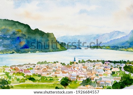 Village, lake Wolfgansee in sunrise, Famous landmark of Austria. Watercolor painting landscape colorful of business city, tourism, beauty summer and blue color sky background, illustration drawing