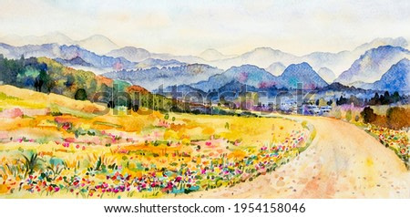 Watercolor landscape painting panorama colorful of mountain range beautiful flower field tree and farm forest with sunrise, sky cloud background in nature autumn season. Painted illustration