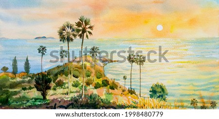 Colorful sea summer watercolor painting on paper seascape paintings of Laem Phromthep Phuket famous landmarks in Thailand with sunlight sunset background. Abstract texture image art for background.
