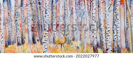 Watercolor painting colorful autumn trees. Semi abstract image of forest, aspen trees with deer family, red leaf. Autumn, Fall season nature background. Hand Painted Impressionist, outdoor landscape