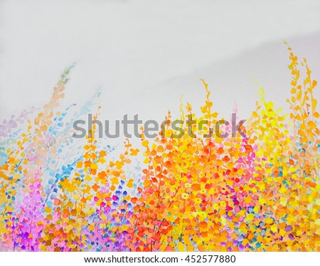 Abstract watercolor original landscape painting imagination colorful of beauty flowers and emotion in blue background