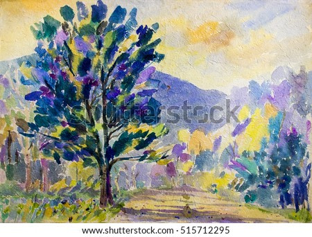 Watercolor painting original landscape  colorful of street view of the trees in the countryside. in sky and cloud with mountain background