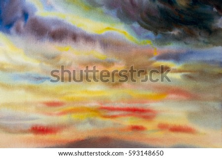 Watercolor painting cloud, sky colorful of raincloud in air and  season nature  abstract  background. Hand Painted Impressionist.