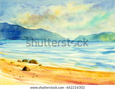 Watercolor seascape original  painting colorful of sea view,beach and sky cloud in the morning bright. Hand painted illustration beauty nature