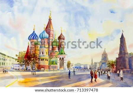 Kremlin and Cathedral of St. Basil in the Red Square Russia. the main tourist attraction in Moscow.  Painting landscape watercolor illustration, beautiful season summer and sky, cloud background.