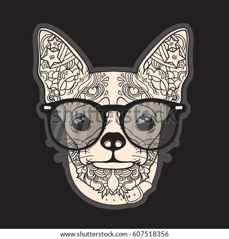 Vector face of dog. Chihuahua. Ornament and line art style. Isolated on dark background.