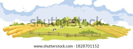 Abstract rural landscape with cows and village. Watercolor vector illustration, wheat fields and meadows.
