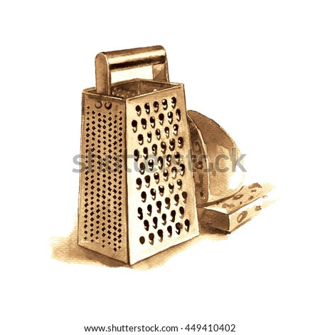 Watercolor hand painted illustration on white background. Kitchenware: grater and cheese.