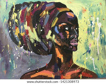 Black lives matter. African woman in turban portrait pop art style picture. African woman painting