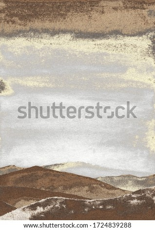 Mountain watercolor painting. Sunrise in landscape. Golden texture. Good for wall print art and background.