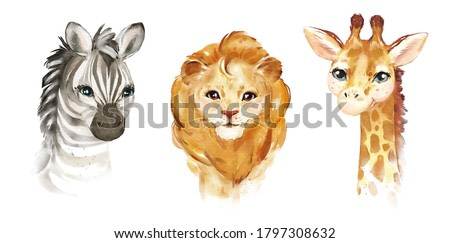 Watercolor illustration tropical animal portraits. Exotic kids summer print for party. Cute poster with  zebra, lion, giraffe