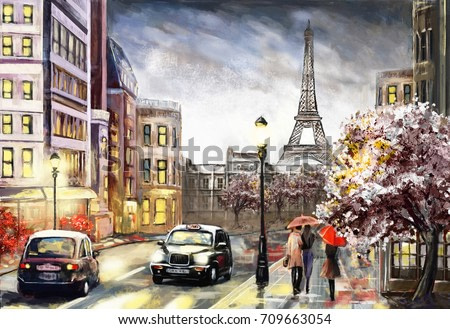 oil painting on canvas, street view of Paris. Artwork. eiffel tower . people under a red umbrella. Tree. France
