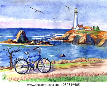 Seascape with a lighthouse and a bicycle, watercolor painting, freehand drawing, print for poster, picture, postcard, illustration for books, home decor