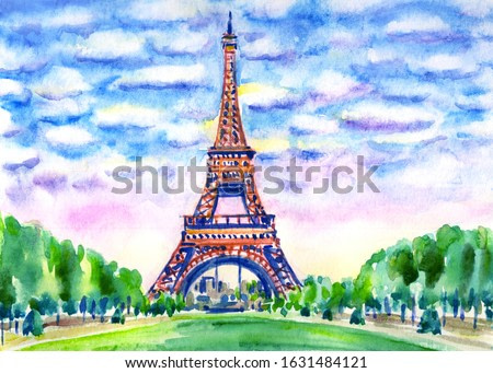 Paris landscape with the Eiffel Tower, watercolor painting, cityscape, poster print, paintings, decor for various designs.