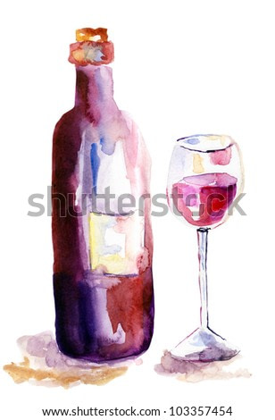 Glass of red wine and a bottle, watercolor illustration
