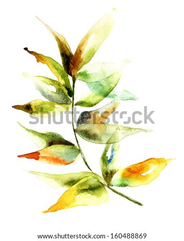 Green leaves, watercolor illustration
