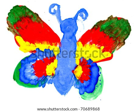 The big butterfly with colourful wings drawing by the child on a paper