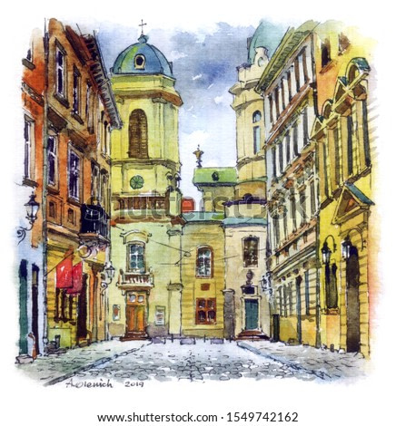 Watercolor painting of old street and Dominican Cathedral in Lviv, Ukraine