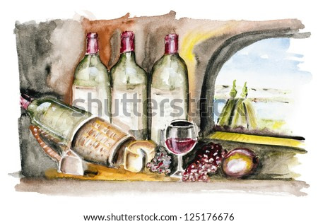 Bottle-aged French wine, cheese , grapes in the kitchen of the castle. Outside the window, summer landscape and river.Handmade watercolor painting illustration on a white paper art background isolated