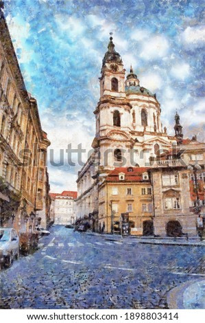 Church of Saint Nicholas is Baroque church in the Lesser Town of Prague, digital generated painting